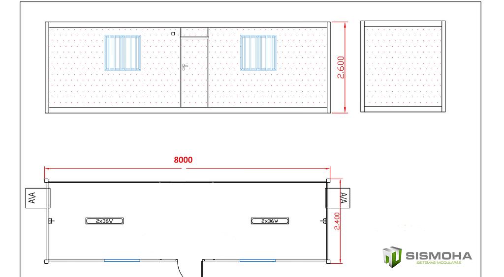 caseta de obra de 8 metros diafana